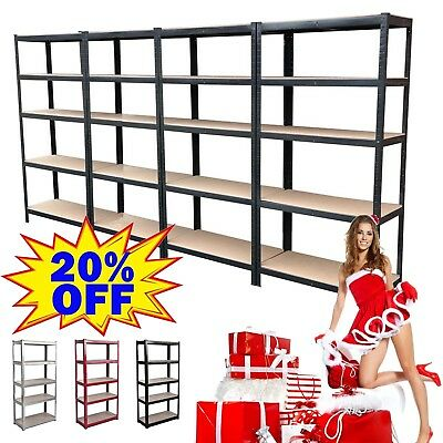 5 Tier Heavy Duty Steel Metal Shelving Racking Industrial Garage Shelf Warehouse
