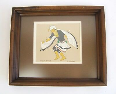 "Vintage HTF Harrison Begay Silk Screen Print  ""Eagle Dance"" Tewa Ent.  6 1/2"" sq"