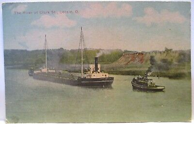 "1910 Tint Postcard  "" The River At Clark St., Lorain Oh "" Ships, Skyline Unused"