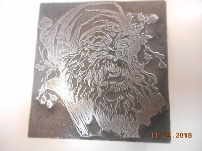 Printing Letterpress Printer Block Vintage Decorative Santa Claus  Printer Cut