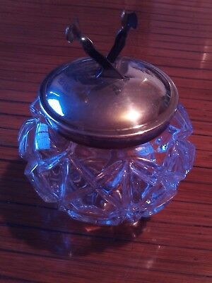 Vintage Pascall's Deco Glass Sugar Bowl with Mechanical Tongs
