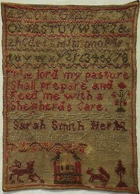 Small Mid 19Th Century Gatehouse & Verse Sampler By Sarah Smith Aged 9 - 1842