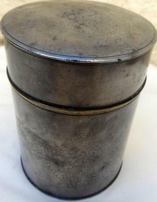 ANTIQUE CHINESE PEWTER 19th Century E Wo Loong Kee Pewter Tea Caddy DRAGONS