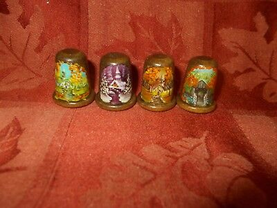 4 pretty hand painted wooden thimbles