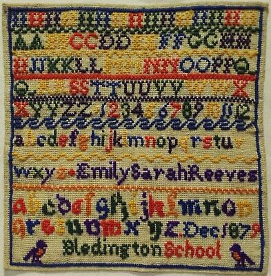Late 19Th Century Alphabet School Sampler By Emily Sarah Reeves - December 1879