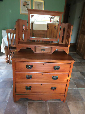 Antique Pine Dressing Table 3 Drawers  Bevelled Edge Mirror