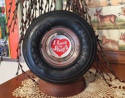 "Firestone Tire Ashtray.... I Love My Stones..... Glass Insert 6"" x 2"""