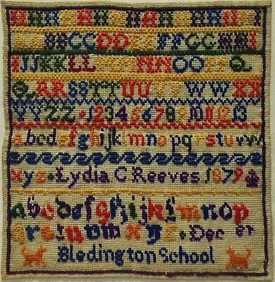 Late 19Th Century Alphabet School Sampler By Lydia C Reeves - December 1879