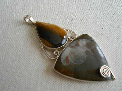 Sterling Silver Ammonite Fossil and Tiger's Eye Pendant   363606