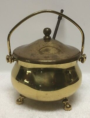 Vintage Brass Fire Starter Oil Pot / Fireplace Tools