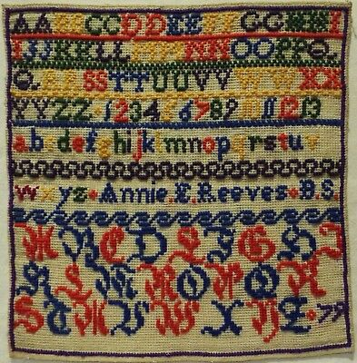 Late 19Th Century Alphabet Sampler By Annie E Reeves - 1879