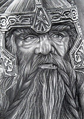 ORIGINAL ACEO sketch card LORD OF THE RINGS John Rhys-Davies DWARF GIMLI