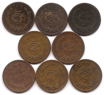 Mexico Lot of 8 5 Centavos Coins 1914, 1915, 1916, 1920, 1921, 1926, 1927, 1929