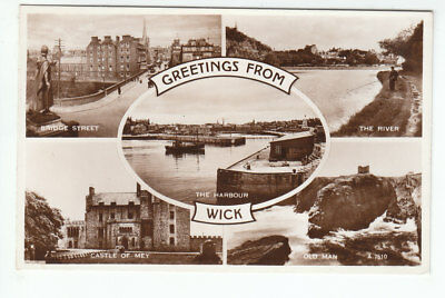 Wick Harbour Bridge Street Castle Of Mey 1938 Old Man Real Photograph Valentines