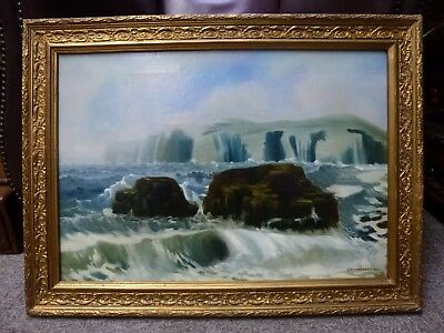 British Antique Oil painting Seascape Victorian Artist signed A. Broadbent 1901