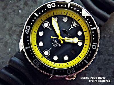 SEIKO SUBMARINER.7002 Black MOP Dial/Yellow Ring 1995 Automatic Scuba Diver's