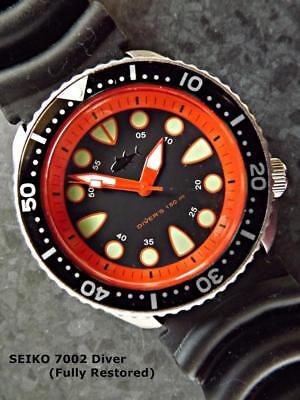 SEIKO SUBMARINER Black Dial / Orange Hands & Chapter Ring, Scuba Diver's  7002