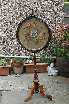 A beautiful late Georgian/early Victorian pole screen with Berlin work tapestry