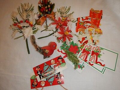 Vintage Christmas Lot Empire Bird Corsage Plastic Flower Picks Stickers Gift Tag