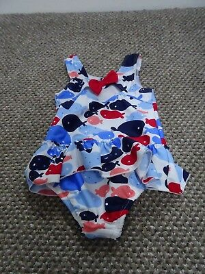 M&s Girls Age 6 - 9 Months Swimming Costume With In Built Nappy