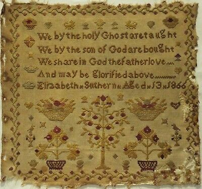 Mid 19Th Century Motif & Verse Sampler By Elizabeth Suthern Aged 13 - 1866