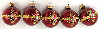 Vintage Glass Christmas Ornaments West Germany Lot of 5