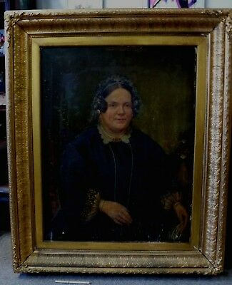 Antique Victorian Lady Woman Huge Old frame genuine oil painting portrait