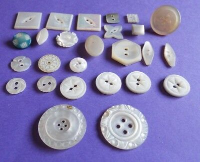26 old/vintage carved or shaped mother of pearl buttons in a mix of designs