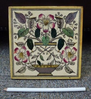 Antique Victorian pottery ceramic pottery transfer printed hand coloured tile