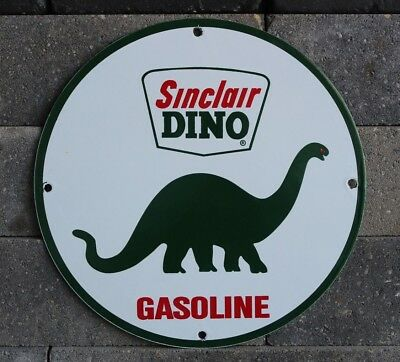 Vintage Dino Sinclair Gasoline Sign Porcelain Gas Service Station Pump Plate Oil