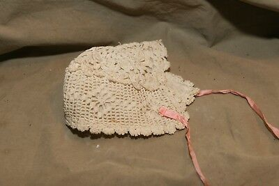 Vintage Antique Crocheted Lace Cotton Lined Baby Bonnet w Pink Ribbon