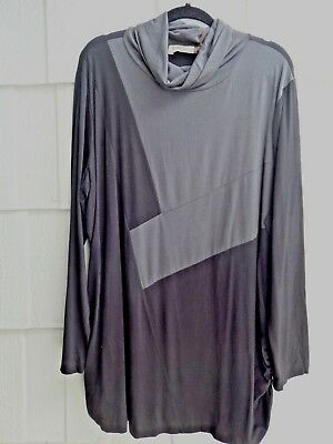 The Fabulous Chalet Et Ceci Usa Black & Smoke Bamboo Mix Lagenlook Tunic 2X