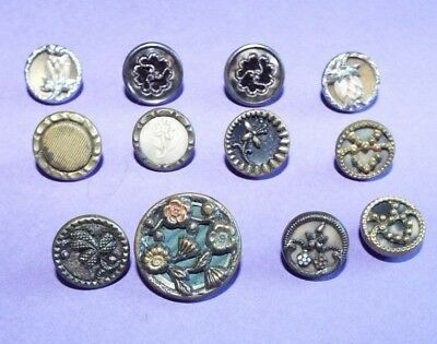 12 vintage/antique Austrian Tinies Buttons (or similar) all different designs