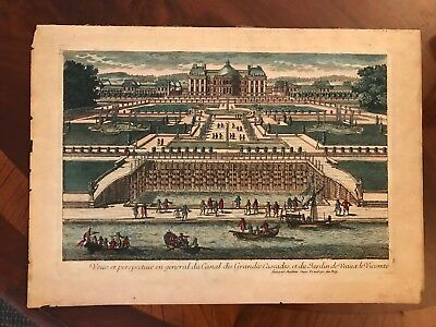 18th Century French Hand Colored Etching Veaux le Vicomte Gardens Grand Canal