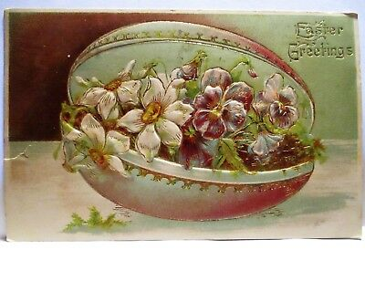 1908 Postcard Easter Greetings, Egg Container Filled With Flowers
