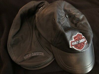 Harley Davidson Black Leather Cabbie Hat AND Black Leather Cap 2for1