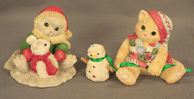 """2 Enesco CALICO KITTENS """"One Look…"""" & """"There's No Friend Like You""""  - Both EUC!"""
