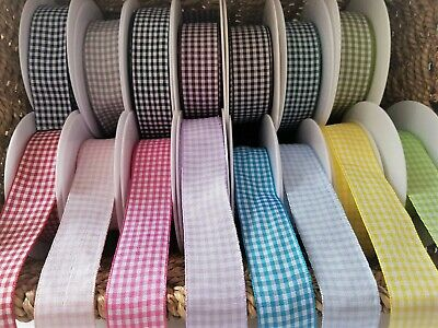 GORGEOUS GINGHAM   ribbon White /& chequered 10mm 13 shades various lengths