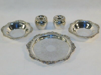 5 Pieces Wallace Baroque Silver Bowls Plate Flower Holders