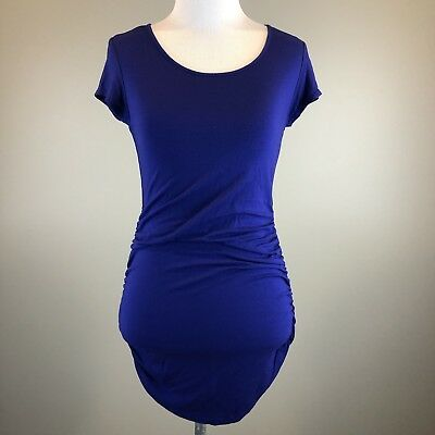 A Pea in the Pod Maternity Purple Ruched Navy Cap Sleeved Top Shirt