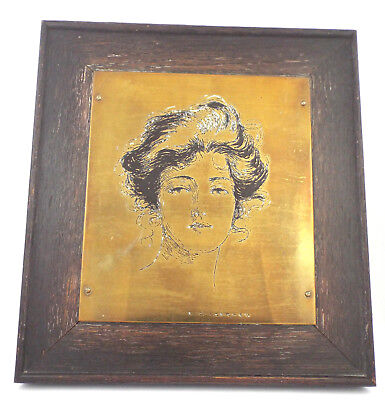 "1900s ANTIQUE ARTS & CRAFTS ""WHARF-EATON"" FIGURAL ART BRASS ETCHING PLAQUE - USA"