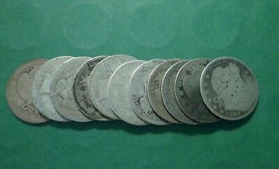 Unsearched Lot of 11 Silver Barber Quarters #2