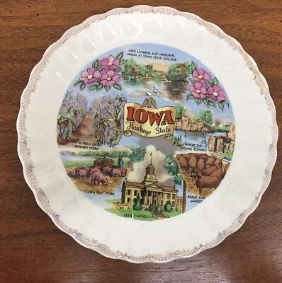 "Iowa The Hawkeye State Colorful 7"" Souvenir Collector Plate"