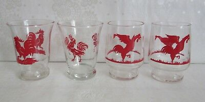 4 VTG Swanky Swig Juice Glasses ALL ROOSTERS Some Matching 2 Fighting