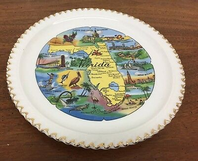 "Florida Map & Pictures Colorful 7.25"" Souvenir Collector Plate"