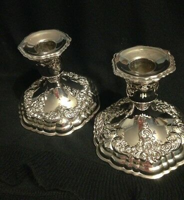 Pair Vintage Candlestick Holders Ornate Silver Plate 4 in. High 4.5 in. Base