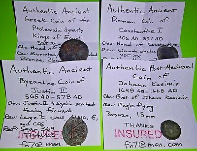 Collection Greek Roman Byzantine & Post Medieval Coins 305 BC Ptolemy Constantin