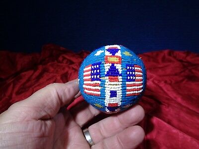 Vintage Native American Beaded Game Ball