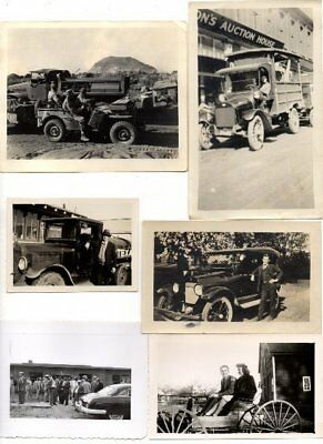Lot of 6 Vintage Photos Cars with People Posed Circa 1920s/1950s