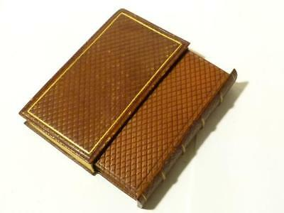 19thC SECRET Etui Sewing Needle Case - Leather Bound Reading BOOK Shape BOX